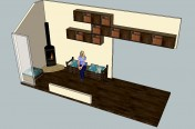 Lounge Interior with wall storage