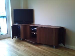 Curved Walnut TV Stand
