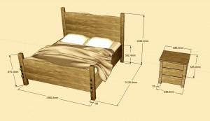Double Oak Bed Oak Bedside table
