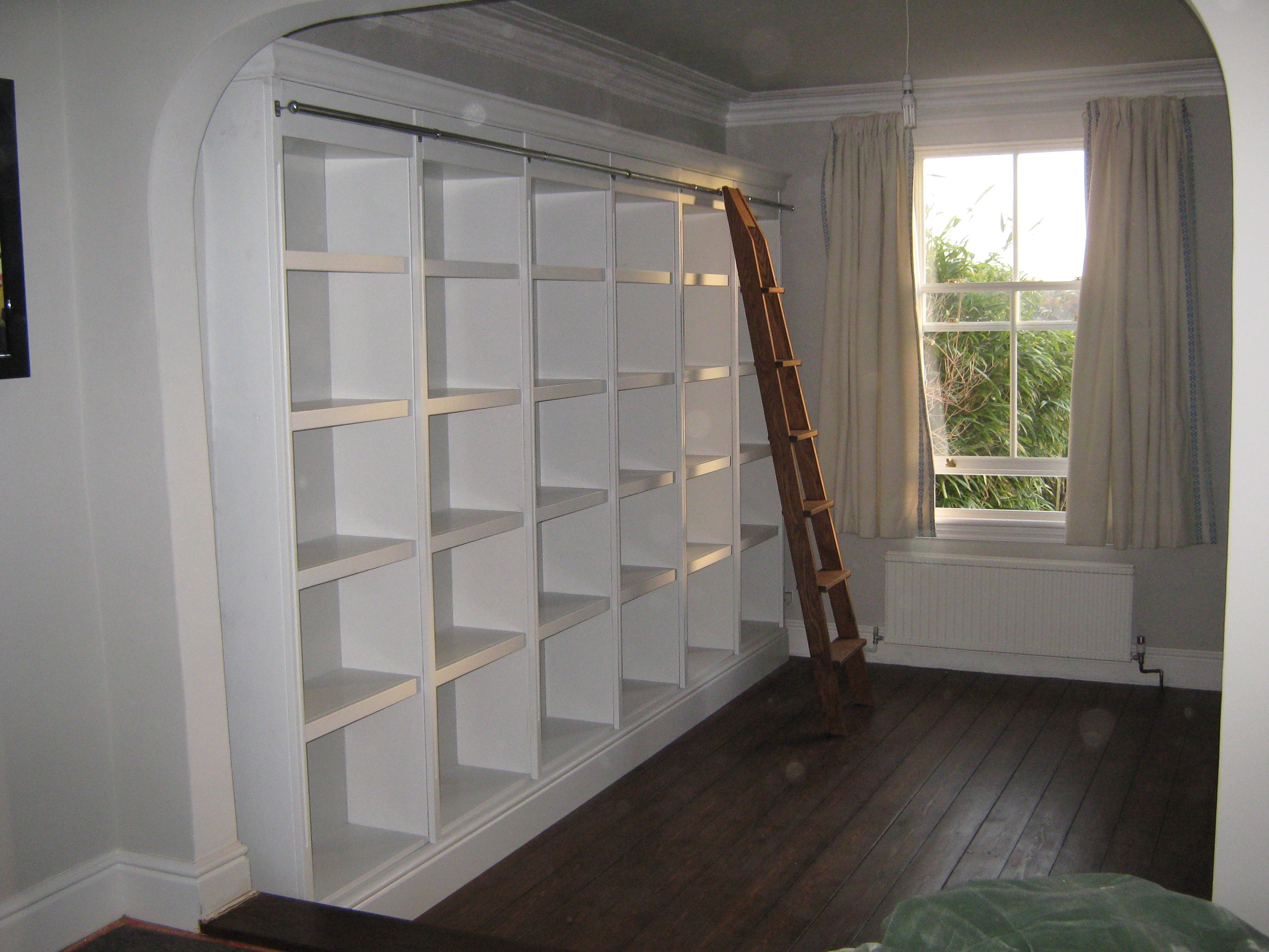 Oak Library Ladder and Traditional Painted Bookcase ...
