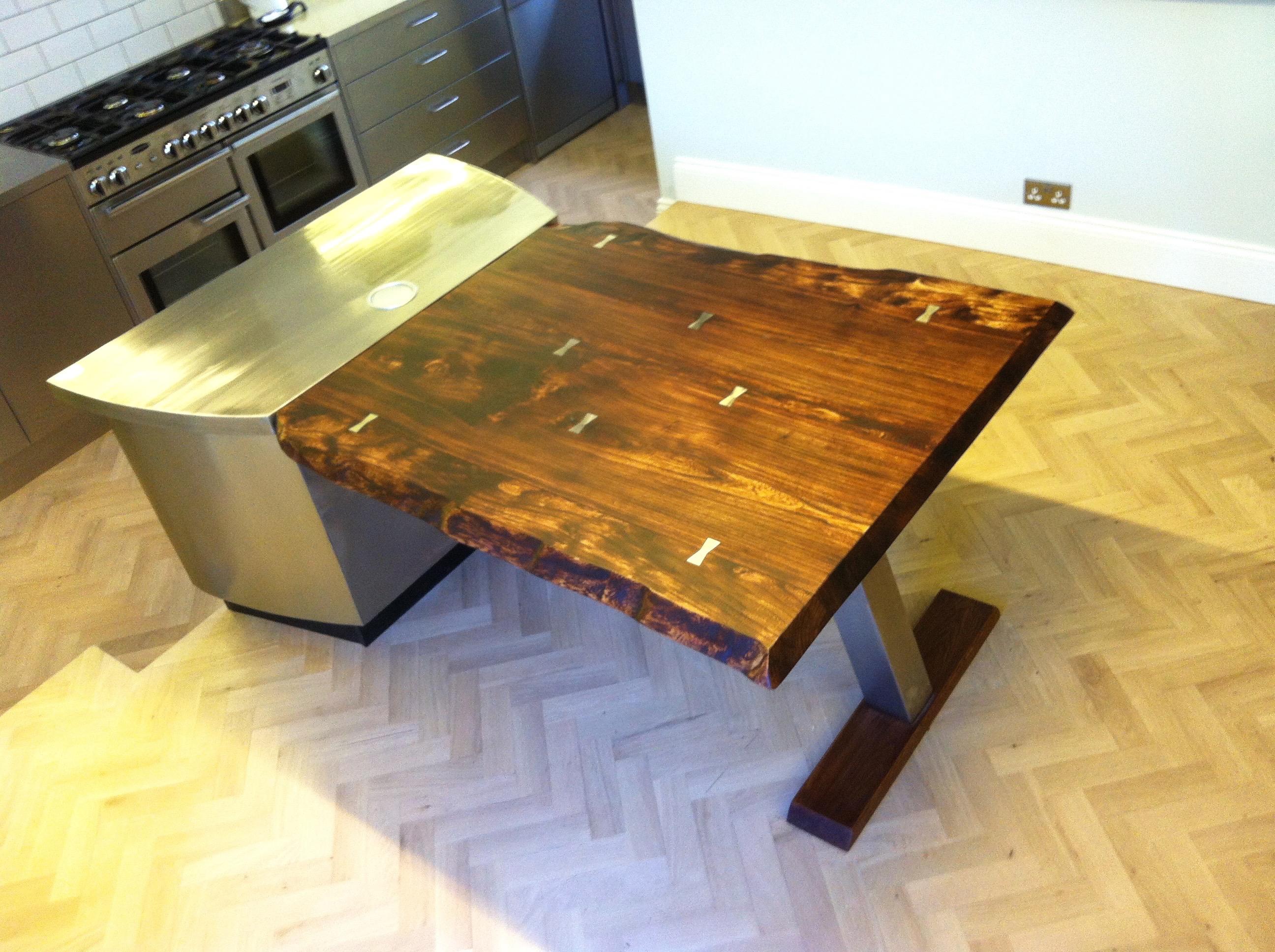 Table diner design server Elm Oak Natural Stainless Steel Plank ...