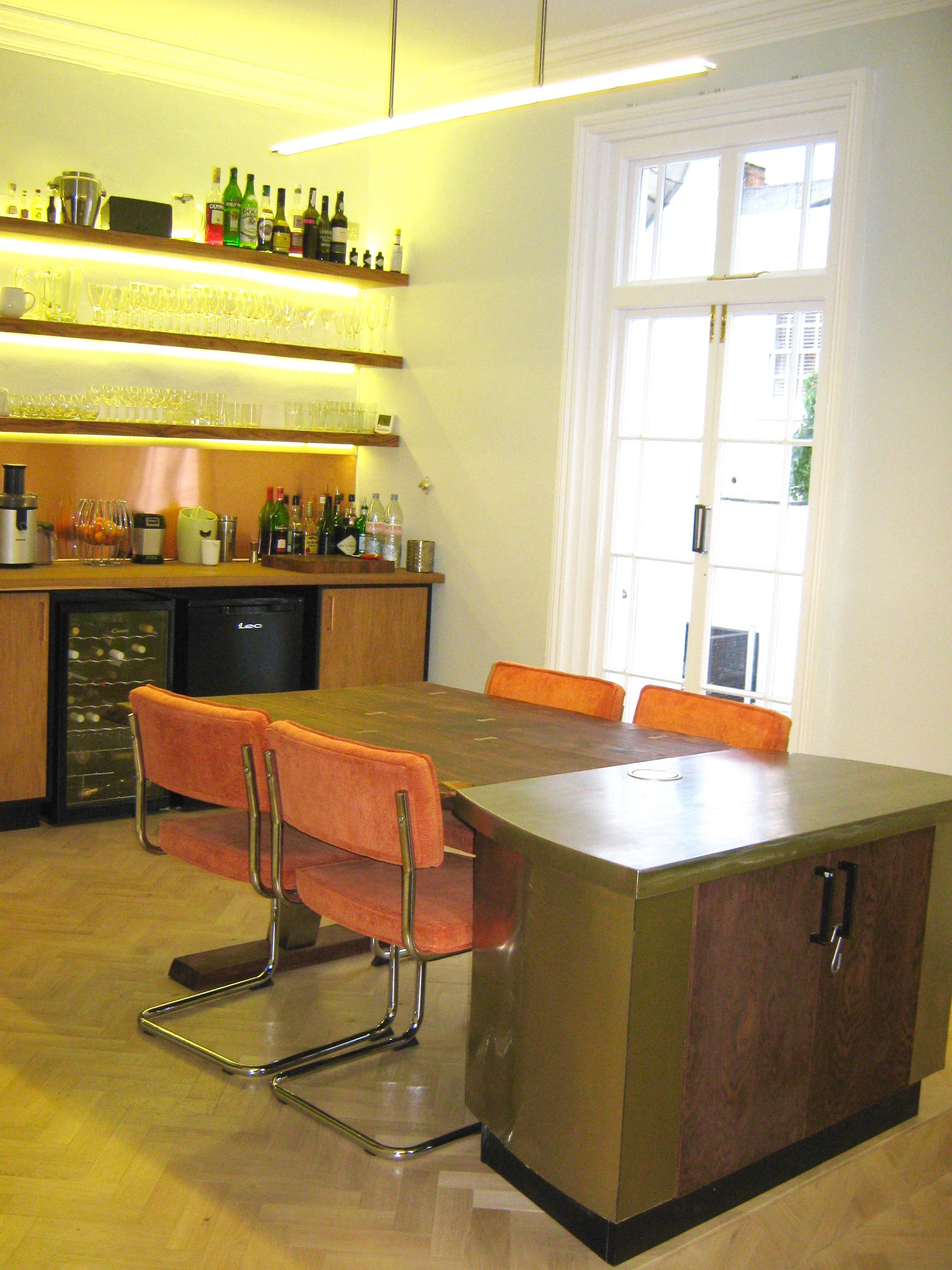 Table diner design server Steel Plank kitchen Elm Oak Natural ...