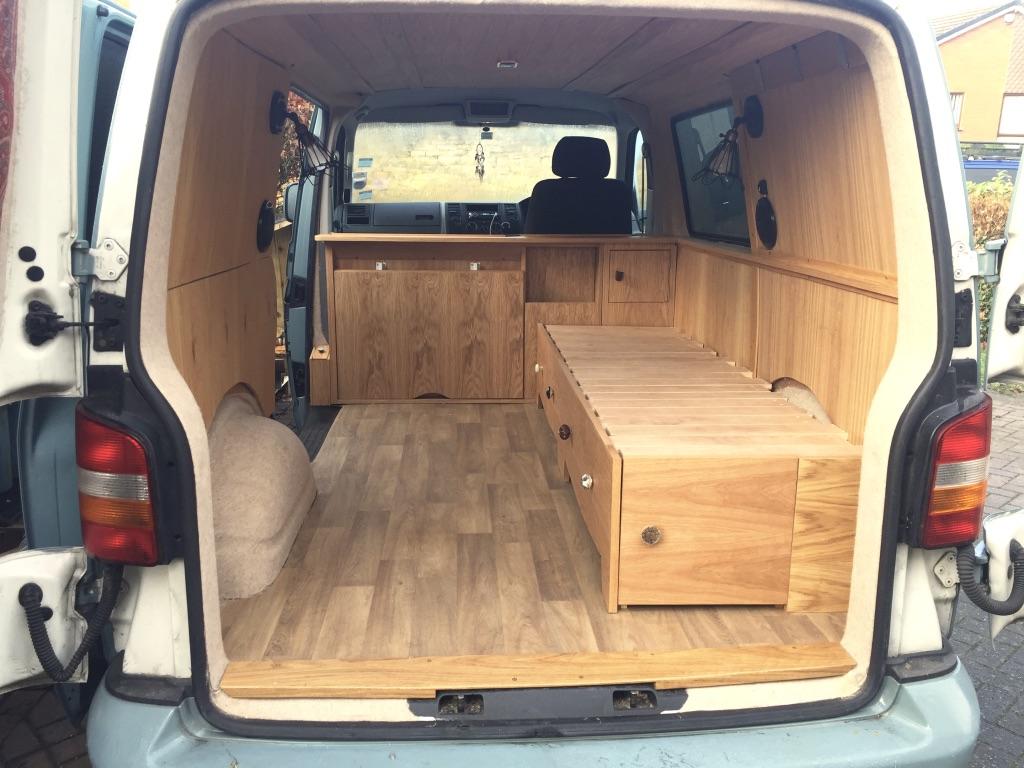 Camper Campervan Vw T5 Oak Interior Adventure Explore Conversion Xxi James Archer Furniture